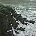 Tempête à Quiberon 2012, pastel à l'huile. (VENDU)