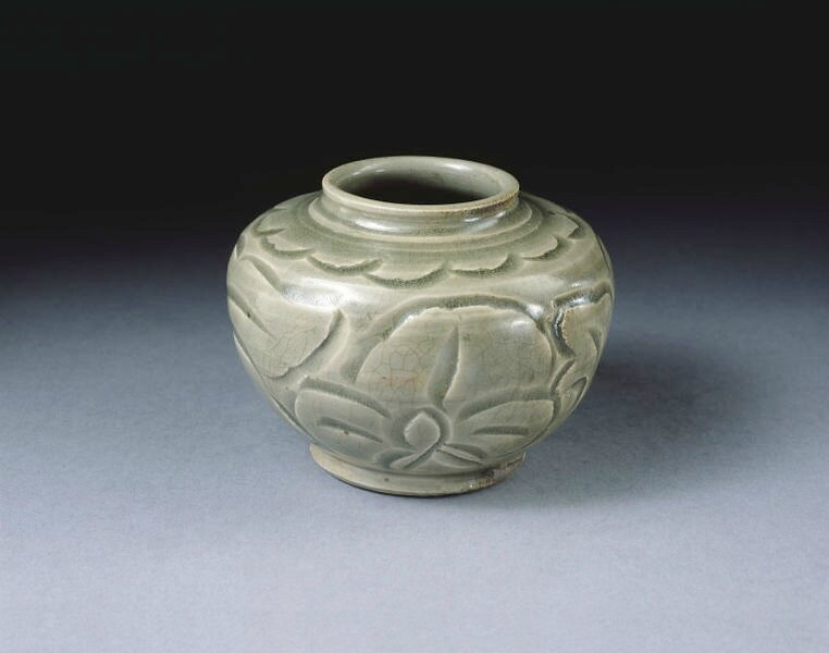 Jar, carved and glazed stoneware, Yaozhou ware, China, Northern Song-Jin dynasty, 12th century