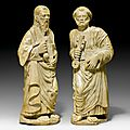 The evangelists peter and paul, renaissance, lombard master, ca. 1480