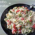 Risotto aux fèves, tomate et maroilles