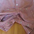 Salopette chemise vichy bordeaux IM1063 - entrejambe ouvert