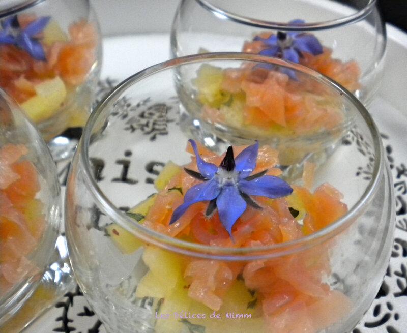 Verrine de tartare de saumon fumé et ananas pour l'apéro 2
