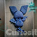 Décoration Mobile à accrocher - Bat-Doudou - Chauve-souris Vlady Bleue - Fait main - Made in France (2)