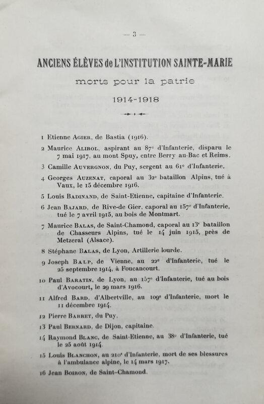 liste anciens élèves Sainte-Marie tués, 1914-1918 (3)