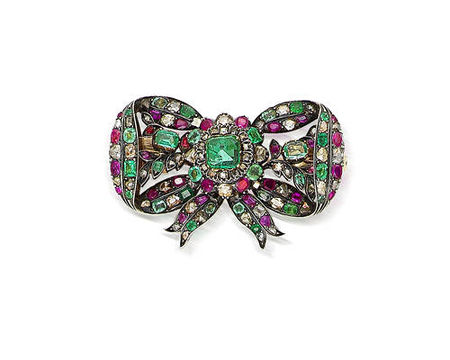 A_19th_century_emerald__ruby_and_diamond_bow_brooch__Hungarian