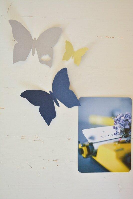 envolée de papillons marine-gris-anis