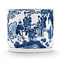 A blue and white brushpot, kangxi period (1662-1722)