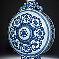 A large Ming-style blue and white moonflask, Qianlong period (1736-1795)