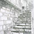 Figeac, escalier au bord du Célé, encte et lavis
