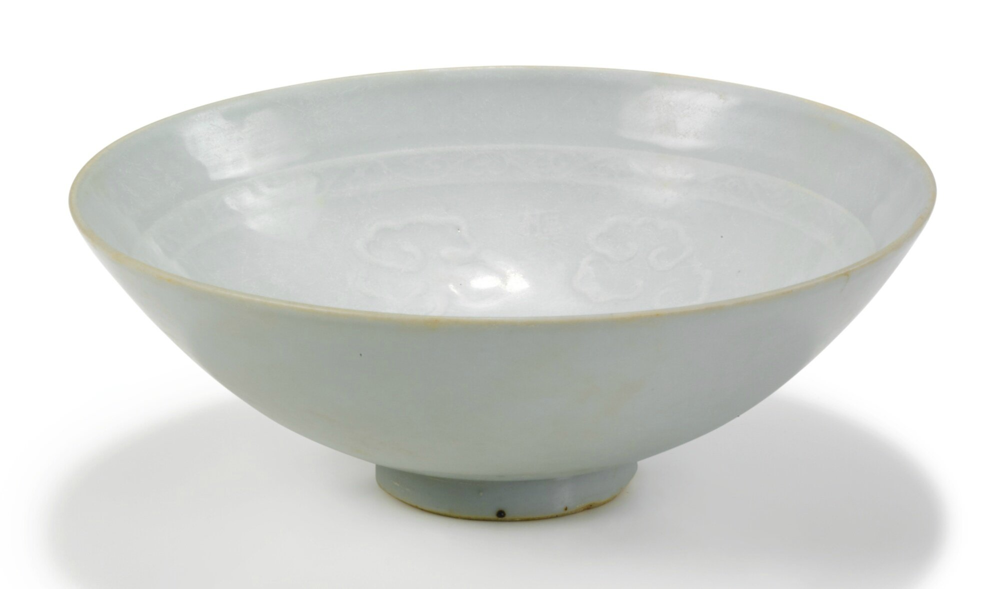A moulded 'Crane and Clouds'  'Shufu' bowl, Yuan dynasty
