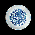 A blue and white 'dragon' dish, qianlong seal mark and of the period (1736-1795)