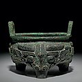 A very rare bronze ritual tripod food vessel, li, early western zhou dynasty, 11th-10th century b.c.