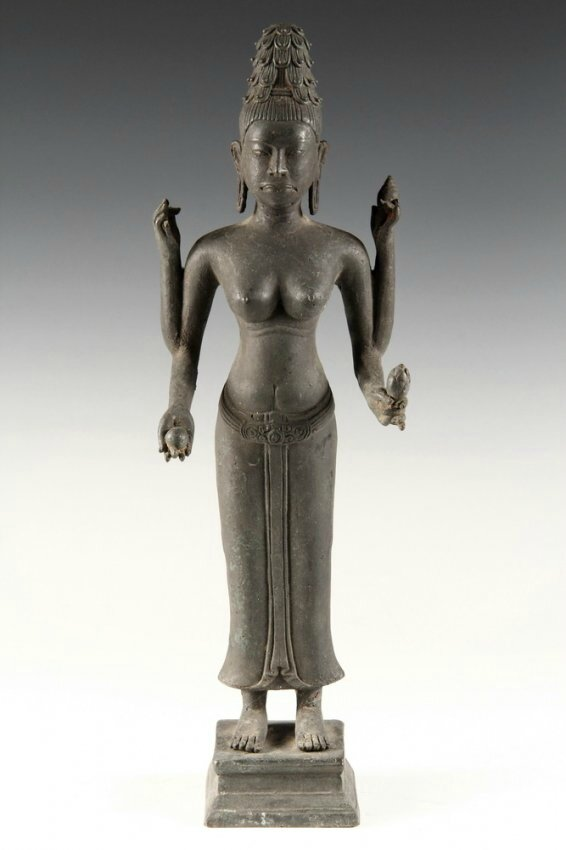 Standing Four-Armed Shiva, 18th c, probably Vietnam, Mekong Delta region. Photo courtesy Thomaston Place Auction Galleries.