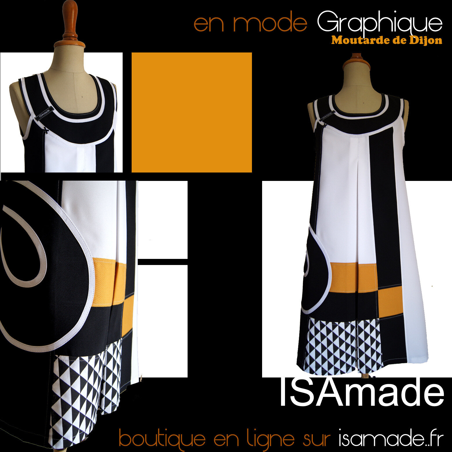 Robe made in France Moutarde graphique