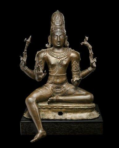 A copper of figure of Shiva Sukhasanamutri, South India, Chola period, 11th century