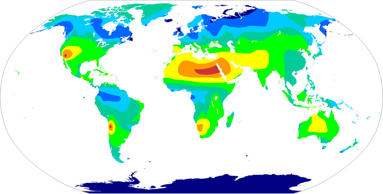 Annual Sunshine Hours of The World