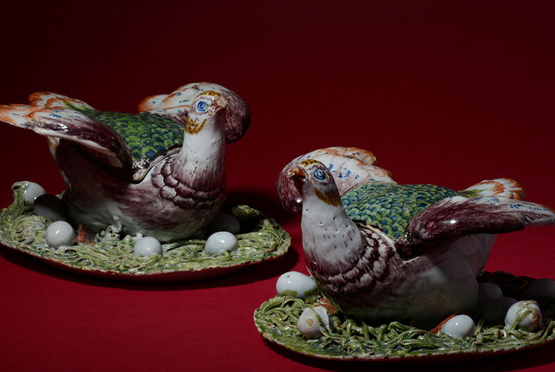 Pair of Polychrome Hen Tureens and Covers, Delft, circa 1765