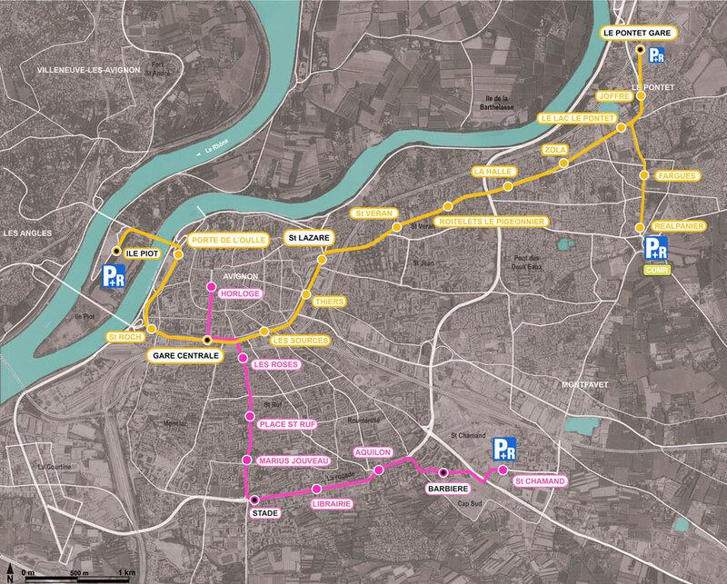 avignon plan tramway