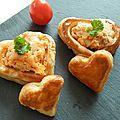 Petits coeurs en bouchées à la reine saumon-échalottes