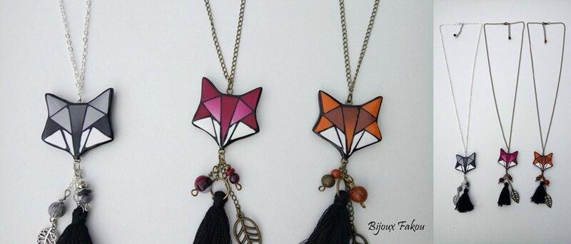 sautoirs renard polygones