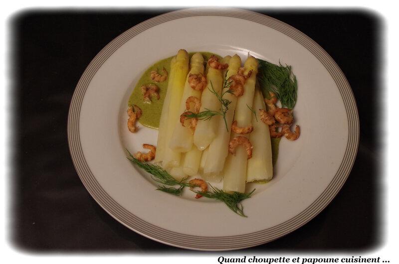 asperges aux crevettes et crème verte-9324