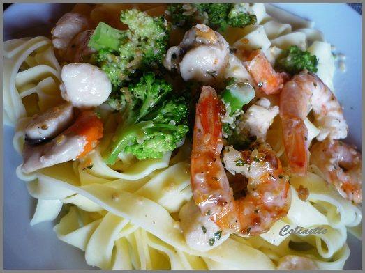 tagliatelles brocolis crevettes et pétoncles 02