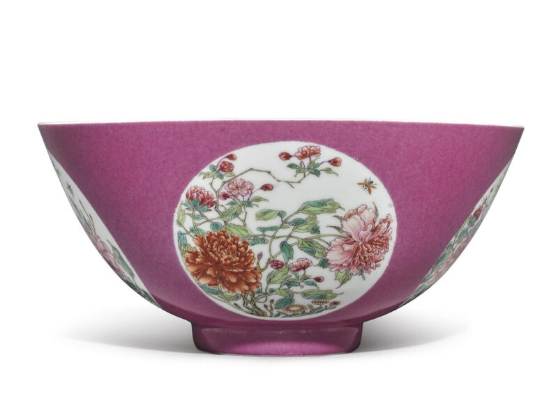 A fine ruby-ground 'Floral' medallion bowl, the porcelain Yongzheng mark and period (1723-1735), the enamels later-added