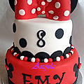 Gâteau minnie rouge, blanc et noir- minnie red, white & black cake