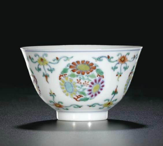 A doucai 'floral' winecup, Mark and period of Yongzheng (1723-1735)