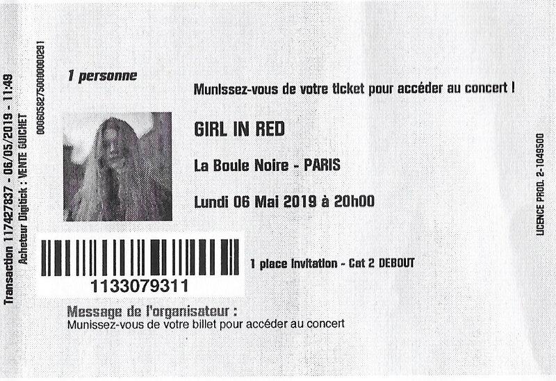 2019 05 06 Girl in Red Boule Noire Billet