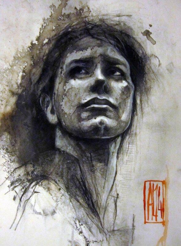 30ter-Le regard-A4-fusain,pierre noire, encre sur canson