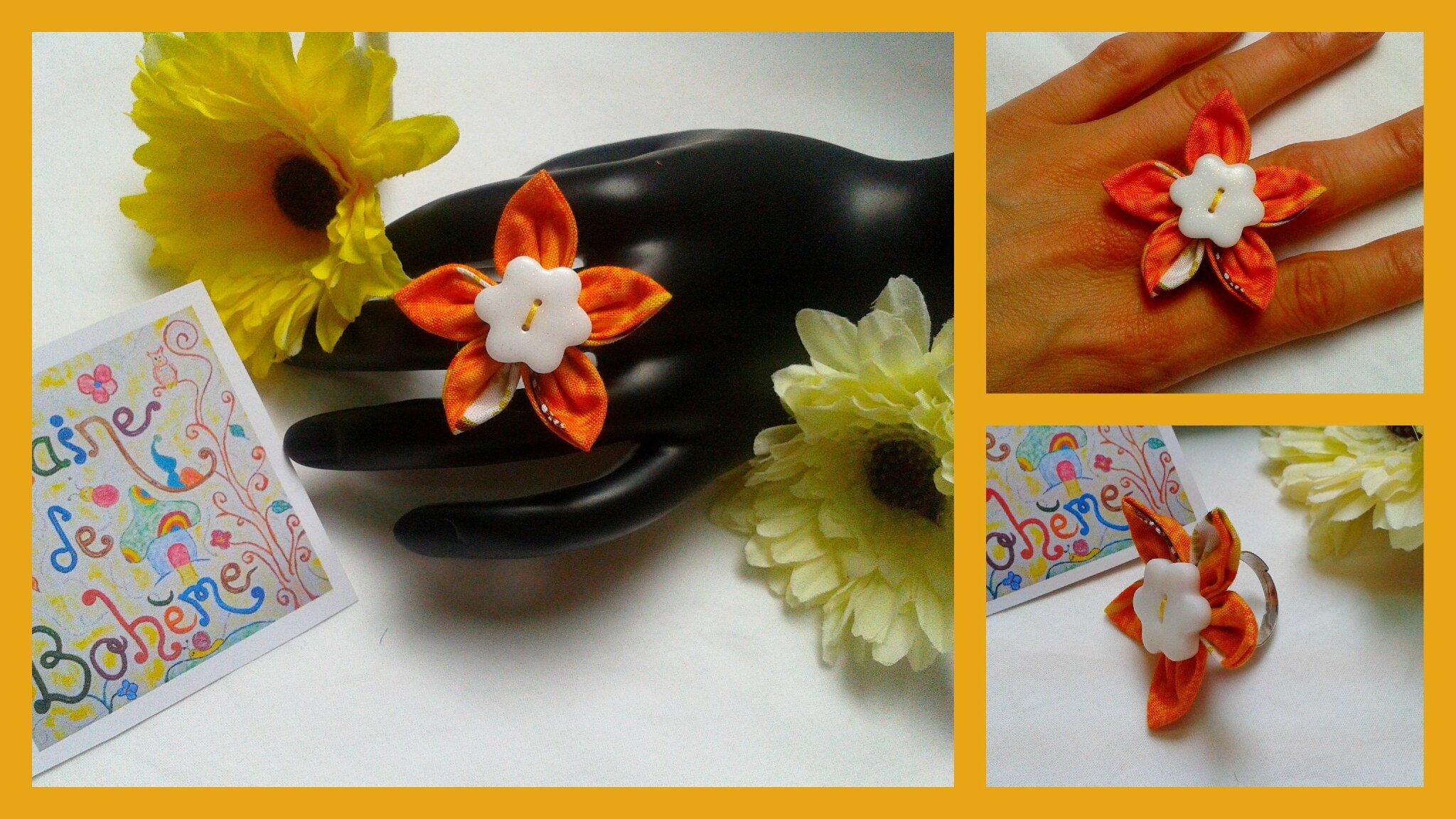 Bague fleur pétale orange