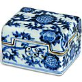 A blue and white rectangular cricket-box and cover, Jiajing six-character mark in underglaze blue and of the period (1522-1566)