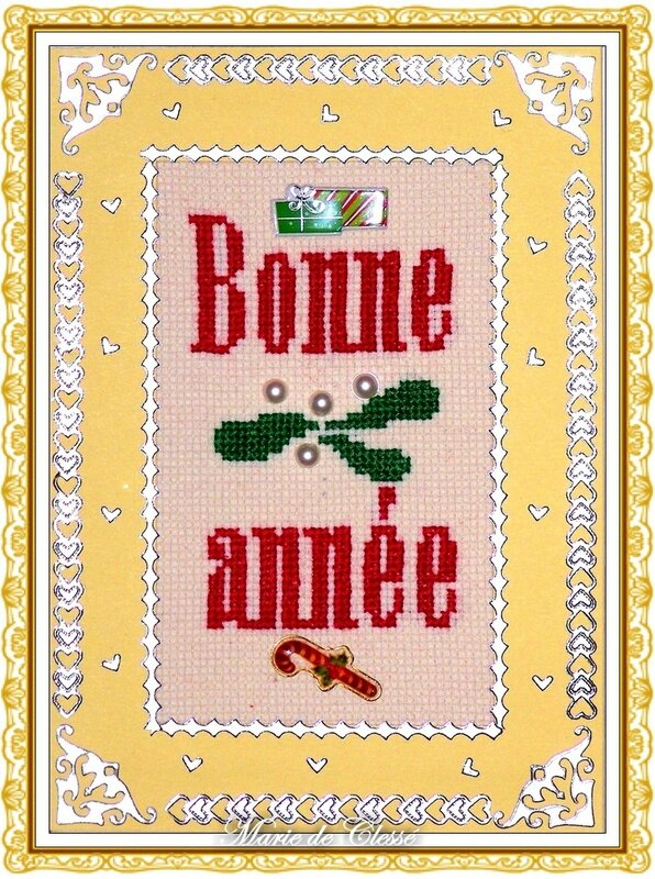 Carte Vœux Brodée Bonne Année Feuilles de gui et perles 2013