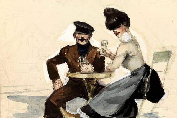 Edward Hopper couple buvant 1906-1907