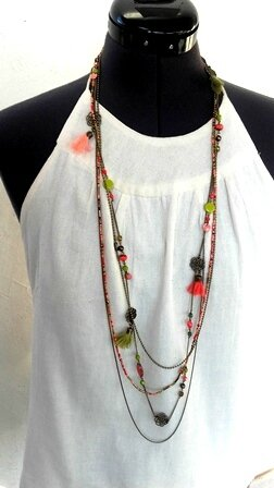 collier 4 rangs anis et corail pw
