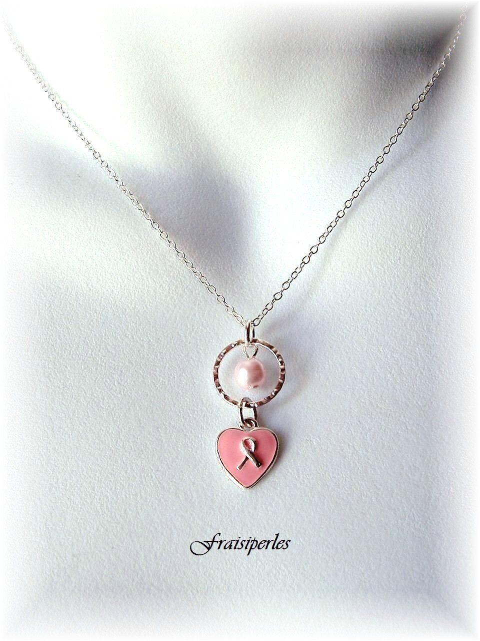collier cancer perle rose