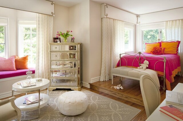 Bedroom-for-Teenage-Girl-Furnished-with-Pink-and-Orange-Bedding-and-Mirrored-Dresser[1]