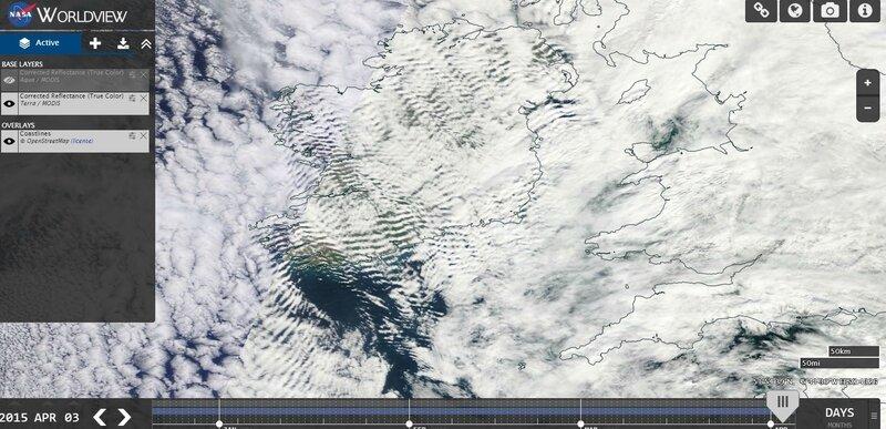 Ondes sur l'Irlande en avril 2015