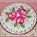 Boîte bois peinte Roses anciennes rouges 11x6cms 2