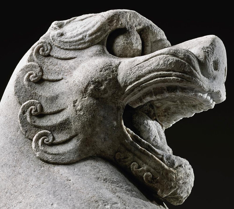 A magnificent large white marble lion, Northern Qi dynasty (550-577)