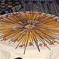 nappe au mandala de tiges de fougèrres et lis séchés yurtao