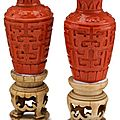 Pair of chinese coral glass vase and ivory base, 19th century