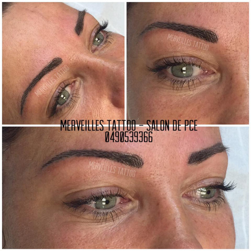 Maquillage permanent sourcil bruns, tatouage sourcils poil à poil