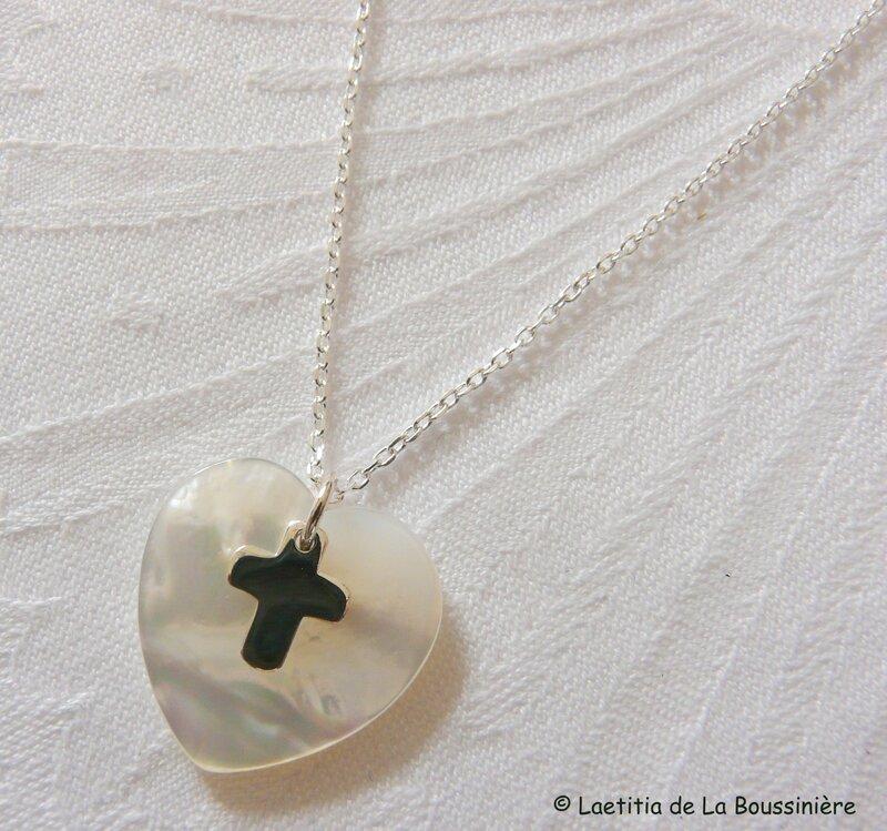 Collier Coeur et mini Croix en argent massif