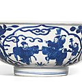 A blue and white bowl with figures, Mark and period of Wanli (1573-1619)