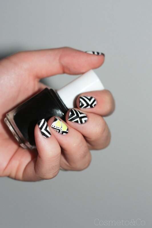 fluo géométrique nail art-7