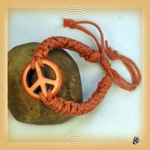 Bracelet De Surfeur Perle Turquoise Orange Peace In Love Cuir Marron et Chanvre Orange