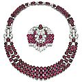Ruby and diamond necklace and a brooch, circa 1935