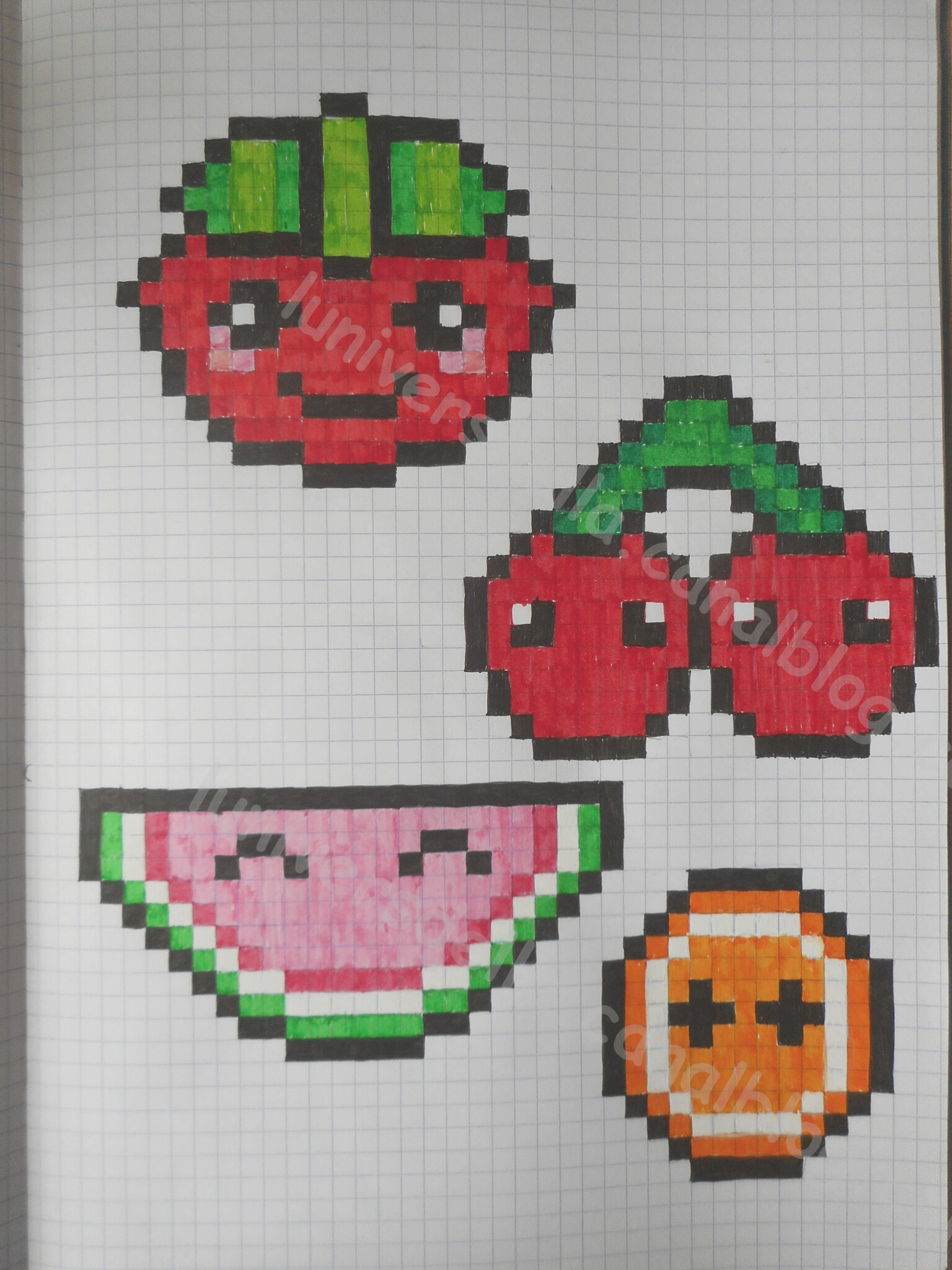 pixel art : fruits kawaii